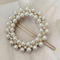 Fashion Pearl Hair Clip For Women Elegant Snap Barrette Stick Hairpin Hair
