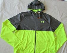 New UNDER ARMOUR Mens Large High Visibility Yellow & Gray Light Jacket NWT