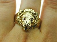 Vintage 9ct Yellow Gold English Lion Ring Ruby Eyes Statement 8.2g Size Z+6 1990