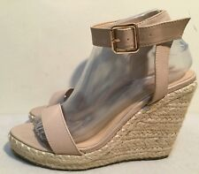 Size AU 7 Women's Open Toe Espadrille Metal Buckle Wedge Sandals
