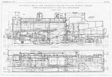 1907 2x Antique Engineering Prints -Bogie Tank Locomotive for Midland Railway Co