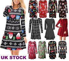 Womens Ladies Reindeer Santa Christmas Long Sweatshirt Tunic Jumper Dress swng