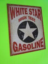 tin metal home garage repair shop man cave decor service station fuel white star