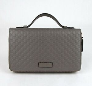 Gucci Gray Leather Microguccissima Double Zip Travel Wallet Bag 544250 1226