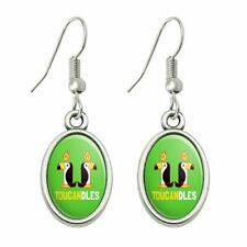 Dangling Drop Oval Charm Earrings Toucandles Toucan Two Candles Funny Humor