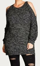 CITY CHIC XS 14 NWT RRP $89.95 JUMPER MONO COLD SHOULDER CHARCOAL