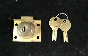1 Original Mills Slot Machine Lock w/2 Keys, Old Antique Coin-Op Parts
