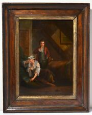 Youth Apres Rapports Sexuels Erotic Scene early 19C Antique Oil Painting
