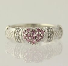 Judith Ripka Cubic Zirconia Heart Ring - Sterling Silver Pink Ice Fashion CZ