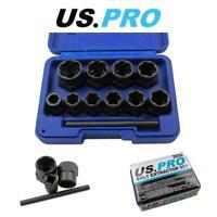 US PRO Tools 11pc Bolt Nut Extractor Set, Damaged Heads Studs Twist Sockets 2656