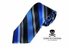 Lord R Colton Studio Tie Black & Royal Blue Stripe Satin Woven Necktie $95 New
