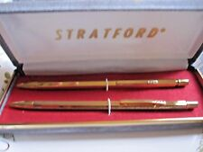 Vintage New Gold Tone Stratford Pen And Pencil Set With Velvet Case Made in Usa