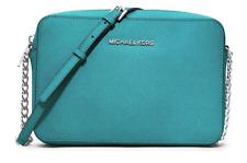Michael Kors Jet Set Large EW Crossbody Bag Handbag Saffiano Leather Tile Blue