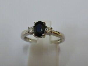 Ladies Stunning 9ct White Gold Sapphire & 10pt Diamond Ring - Size M