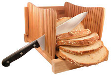 DB-Tech Compact Bamboo Wood Bread Slicer Cutter - Slices 3 Sizes of Thickness