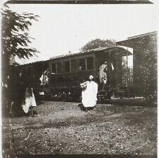 Gambie ? Train Chemin de Fer Afrique Photo Plaque de verre Stereo Positive D4