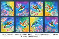 Nature Studies Bright Humming Birds Digital Panel cotton quilt fabric Kaufman