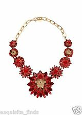 New Versace Red Blooming Medusa Crystal Necklace