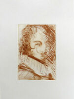 Salvador DALI Self Portrait Restrike Etching & COA 14 x 11-1/4