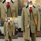 Men Long Overcoat Wool Plaid Groomsmen Fit Tuxedos Best Tailored Suits Separate