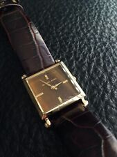 Michael Kors Tiger Eye Square Face Gold And Leather Watch Ladies