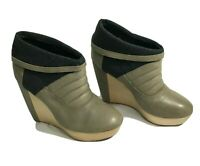 Womens NYLA Taupe Leather Upper Wedges Niguelat 9.5