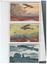 Fliegerei I.Wk Deutscher Luftflottenverein, 3 Künstlerkarten, Feldpost
