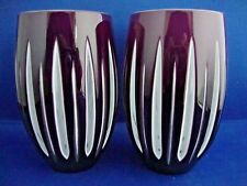 2 Linear Amethyst/White Hi Ball Tumblers David Redman Crystal Glassware Signed
