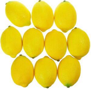 Artificial Lemons Realistic Decorative Home Kitchen Fake Fruit - Set Of 10