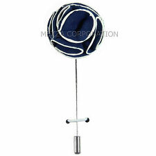 New in box Men's Suit chest brooch navy blue white flower lapel pin formal