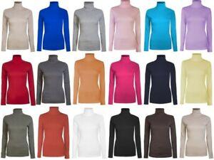 Ladies Roll Necks Tops Womens Polo Necks Plain Winter Ski Stretch Jersey Cotton