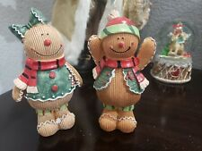Christmas Gingerbread Girl & Boys Resin Figurine Tabletop Decor Set of 2
