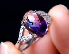 Natural Quartz Crystal Amethyst Gem woman adjustable Ring Silver Inlaid 13.15ct