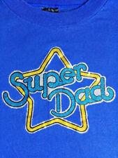 VINTAGE 70's 80's SUPER DAD BLUE T- SHIRTS SPARKLE IRON ON SIZE M/L