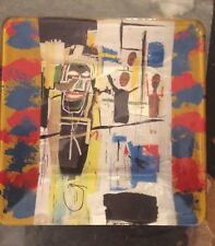 Jean Michel Basquiat Blue Blaze Medium Glass Collector Plate -Signed, Numbered