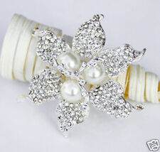 Rhinestone Crystal Pearl Brooch Wedding Cake Decoration