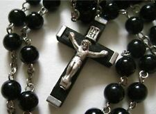 Black Natural Carnelian Agate BEADS ROSARY wood CROSS CRUCIFIX CATHOLIC NECKLACE