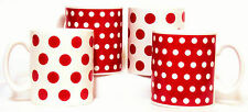 Red Dots and Spots Mugs Set 4 Red & White Porcelain Mugs Decorated in the U.K.