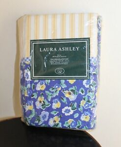 NEW Laura Ashley Two King Pillowcases Floral Gingham Blue Yellow Charming