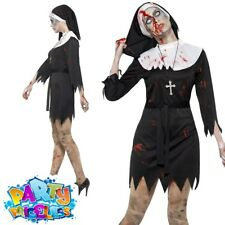 Zombie Sister Nun Bloody Halloween Religious Womens Ladies Fancy Dress Costume Medium