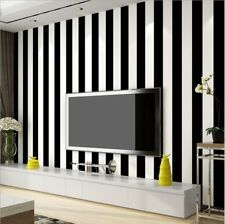 Modern Minimalist Thicking PVC Stripes Wallpaper Roll Black&white0.53m*10m=5.3㎡