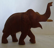 Vintage Wood Hand Carved Elephant Wooden Tusks Figurine Statue Collectible