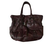 B Makowsky Satchel Hand Shoulder Bag Brown Leather Magnetic Closure Gunmetal L