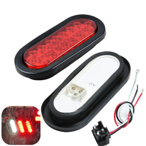 2x 6 inch 24 LED Red Lens Tail Marker Light Plug Flush Mount High Low Brightness