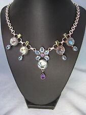Necklace Multi gemstone Abalone Blue Topaz Amethys Peridot Silver India flower