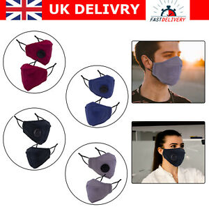 Adult Cotton Face Masks Reusable Washable with PM2.5 Filter Pocket and Air Valve