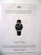 PUBLICITE-ADVERTISING :  A.LANGE & SOHNE Grande Lange 1  2015 Montres