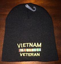 """Vietnam Veteran Embroidered 8"""" Winter Beanie Knit Hat - Black"""