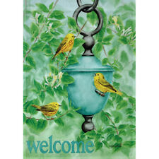 """""""Welcome"""" Honeysuckle Warbler Small Garden Flag 12.5"""" X 18"""""""