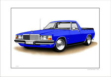 HOLDEN HX HZ WB STATESMAN UTE LIMITED EDITION CAR DRAWING PRINT  ( 7 CAR COLOURS